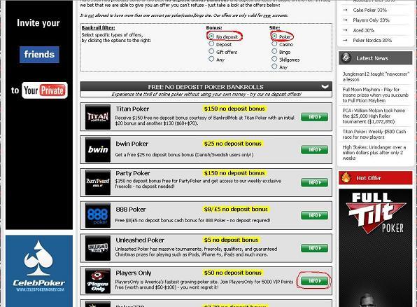 free no deposit poker bonus